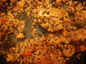 brown rice, black rice, pumpkin,