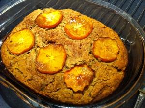 baked persimmon blondie, brownie, cake