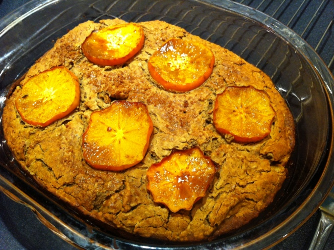 baked persimmon blondie, brownie, cake