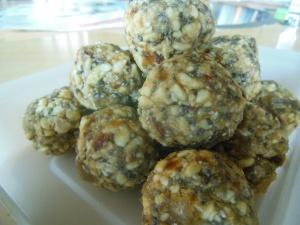 crystallised ginger, chia seeds, bliss