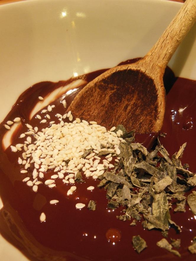chocolate, seaweed, sesame